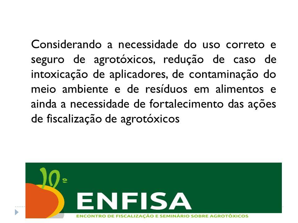 Considerando a necessidade do uso correto e seguro de agrotóxicos, redução de caso de intoxicação de aplicadores, de contaminação do meio ambiente e d