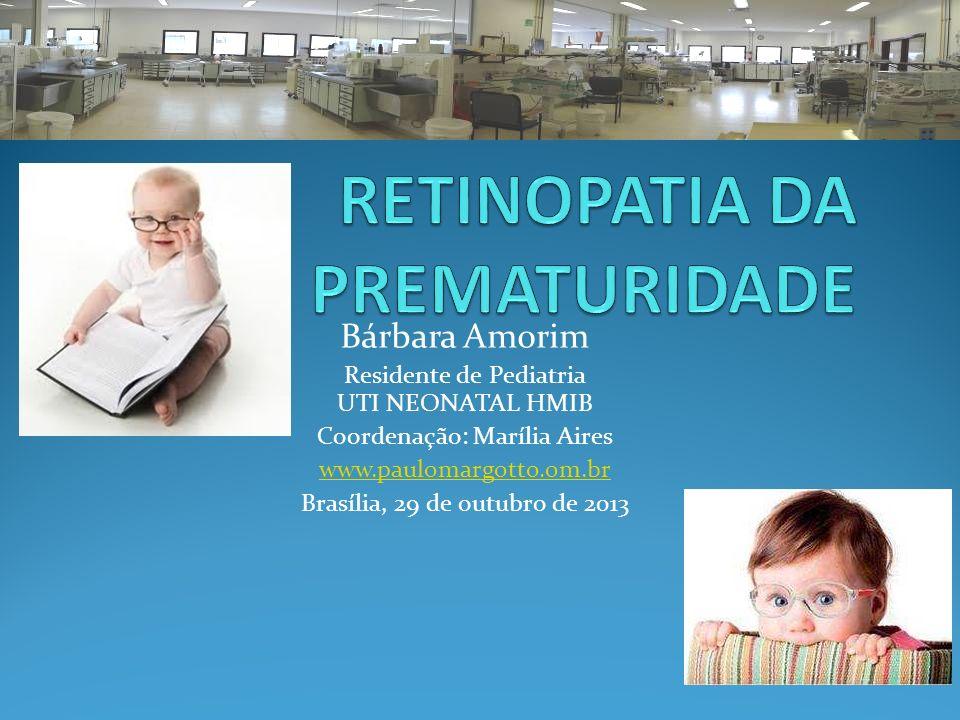 INTRODUÇÃO A retinopatia da prematuridade (ROP): Doença vasoproliferativa da retina Etiologia multifatorial Relacionada principalmente à prematuridade, oxigenioterapia prolongada e baixo peso ao nascer.