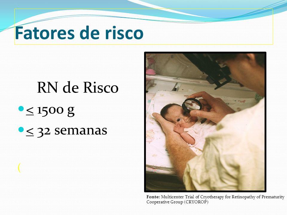 Fatores de risco Síndrome do desconforto respiratório; Sepse; Transfusões sangüíneas; Gestação múltipla; Hemorragia intraventricular.