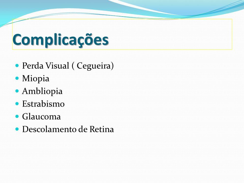 Proposta de diretrizes brasileiras do exame e tratamento de retinopatia da prematuridade (ROP) – 2007 Critérios de exame PN 1.500g e/ou IG 32 semanas Considerar o exame em RNs com presença de fatores de risco: Síndrome do desconforto respiratório; Síndrome do desconforto respiratório; Sepse; Sepse; Transfusões sangüíneas; Transfusões sangüíneas; Gemelaridade; Gemelaridade; Hemorragia intraventricular; Hemorragia intraventricular; Primeiro exame: entre a 4ª e 6ª semana de vida;