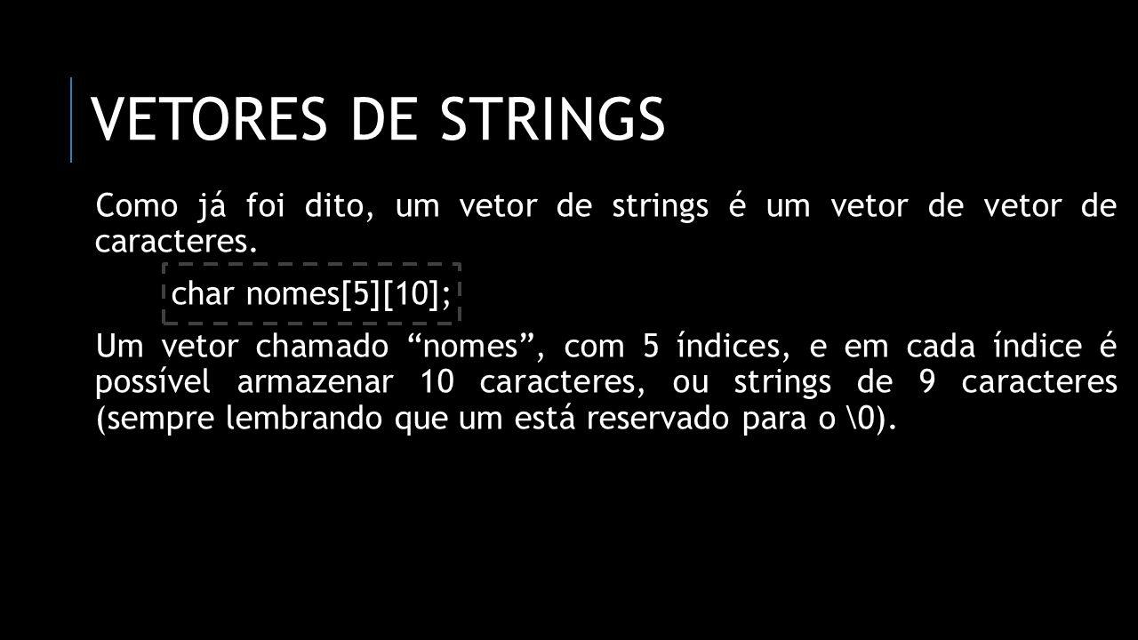 VETORES DE STRINGS Como já foi dito, um vetor de strings é um vetor de vetor de caracteres. char nomes[5][10]; Um vetor chamado nomes, com 5 índices,