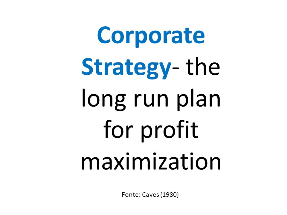 Corporate Strategy- the long run plan for profit maximization Fonte: Caves (1980)