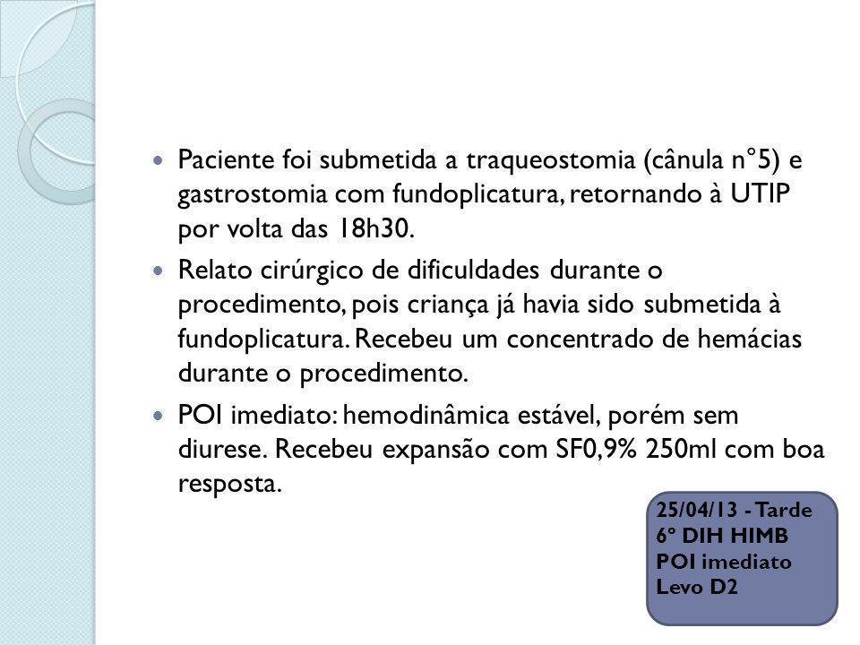 25/04/13 - Tarde 6º DIH HIMB POI imediato Levo D2 Paciente foi submetida a traqueostomia (cânula n°5) e gastrostomia com fundoplicatura, retornando à