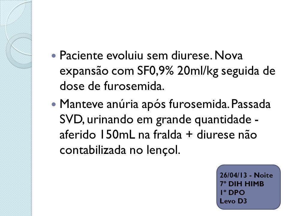 Paciente evoluiu sem diurese. Nova expansão com SF0,9% 20ml/kg seguida de dose de furosemida. Manteve anúria após furosemida. Passada SVD, urinando em