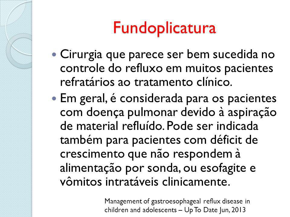 Fundoplicatura Cirurgia que parece ser bem sucedida no controle do refluxo em muitos pacientes refratários ao tratamento clínico. Em geral, é consider