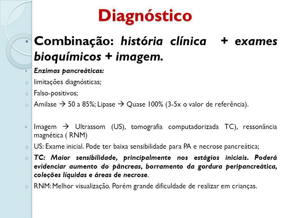 Diagnóstico Combinação: história clínica + exames bioquímicos + imagem. Enzimas pancreáticas: o limitações diagnósticas; o Falso-positivos; o Amilase