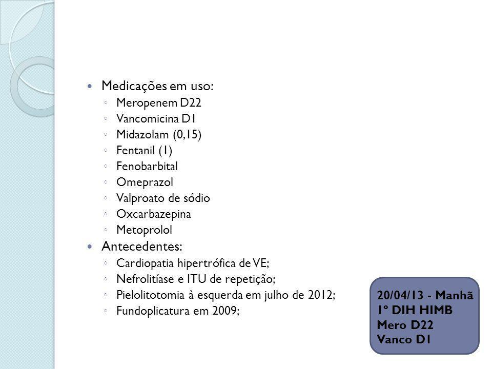 Exame físico à admissão REG, corada, hidratada, anictérica, acianótica, ativa e reativa.