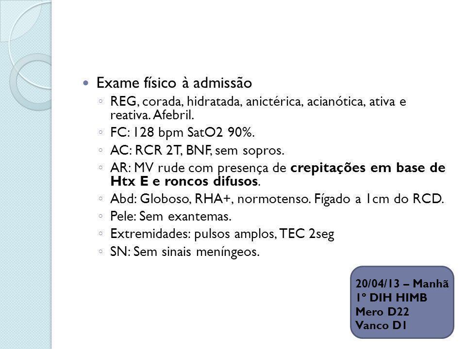 Exame físico à admissão REG, corada, hidratada, anictérica, acianótica, ativa e reativa. Afebril. FC: 128 bpm SatO2 90%. AC: RCR 2T, BNF, sem sopros.