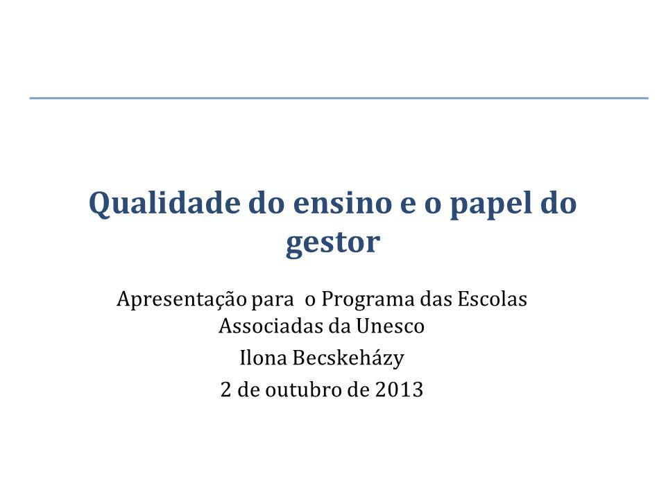 Qualidade do ensino e o papel do gestor Apresentação para o Programa das Escolas Associadas da Unesco Ilona Becskeházy 2 de outubro de 2013