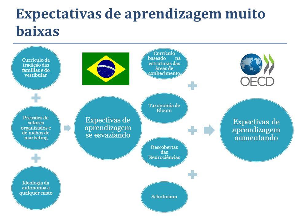 Expectativas de aprendizagem muito baixas Currículo da tradição das famílias e do vestibular Pressões de setores organizados e de nichos de marketing
