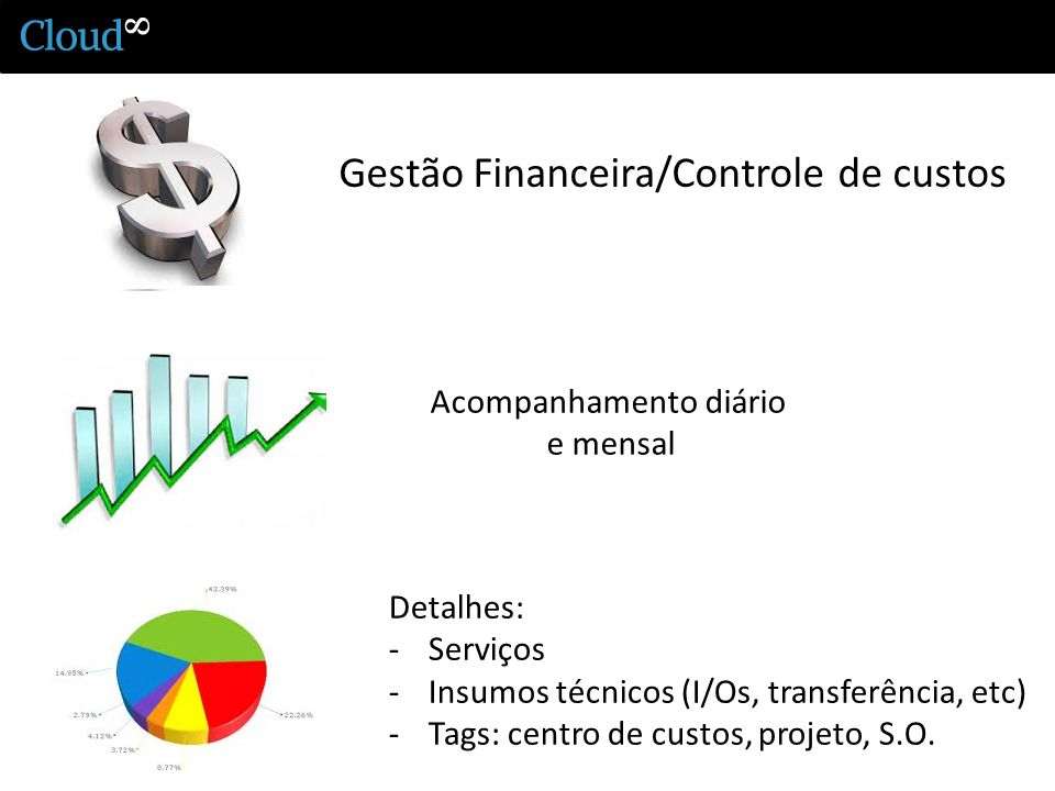 Gestão Financeira/Controle de custos Acompanhamento diário e mensal Detalhes: -Serviços -Insumos técnicos (I/Os, transferência, etc) -Tags: centro de custos, projeto, S.O.