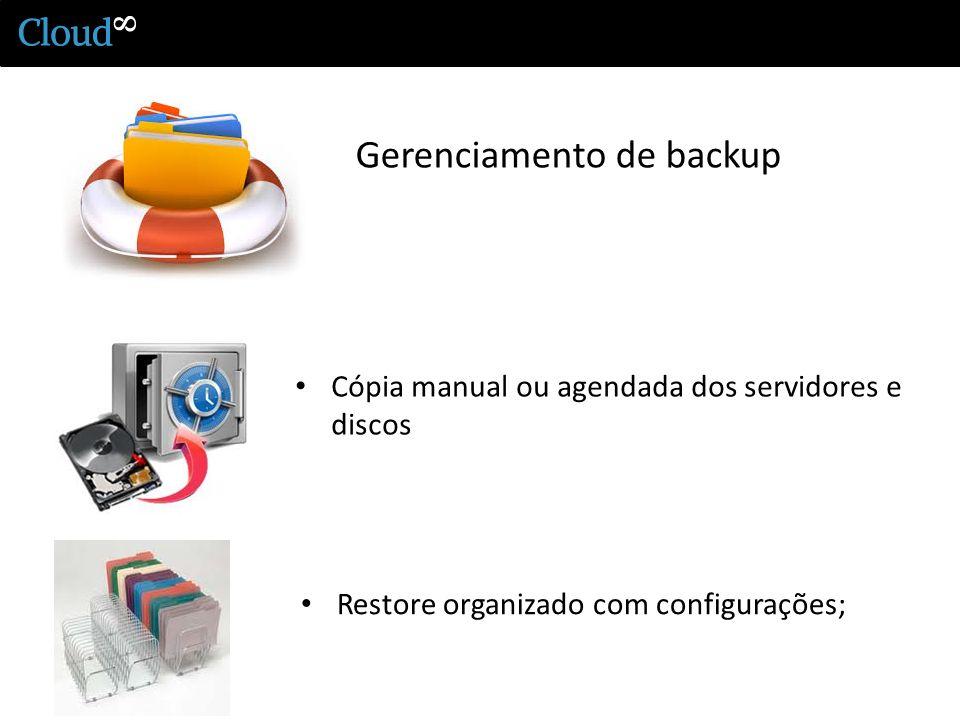 Gerenciamento de backup Cópia manual ou agendada dos servidores e discos Restore organizado com configurações;