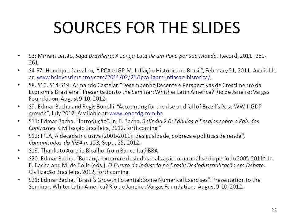 SOURCES FOR THE SLIDES S3: Miriam Leitão, Saga Brasileira: A Longa Luta de um Povo por sua Moeda.