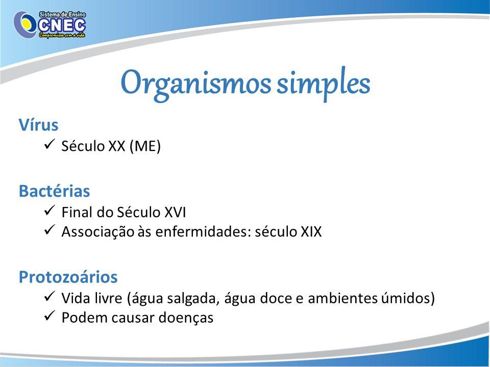 Organismos simples Vírus Século XX (ME) Bactérias Final do Século XVI Associação às enfermidades: século XIX Protozoários Vida livre (água salgada, ág