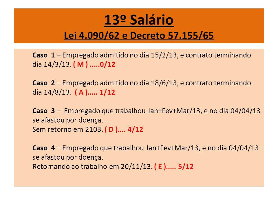 13º Salário Lei 4.090/62 e Decreto 57.155/65 Caso 1 – Empregado admitido no dia 15/2/13, e contrato terminando dia 14/3/13. ( M ).....0/12 Caso 2 – Em