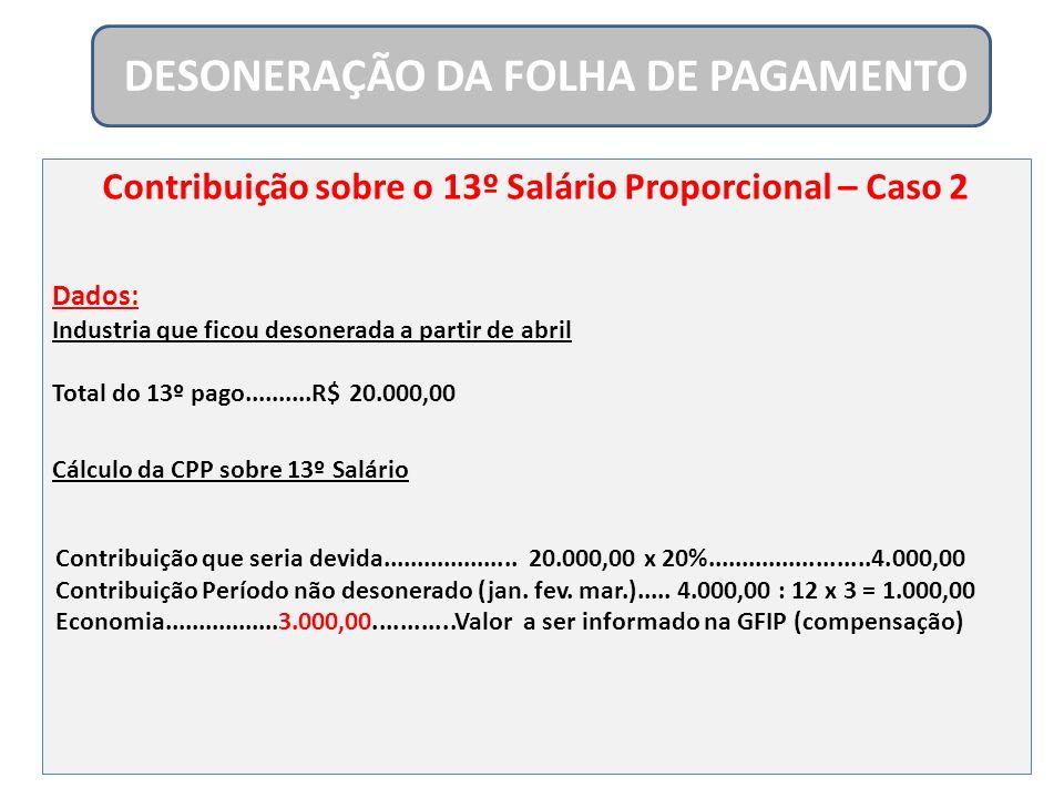 Contribuição sobre o 13º Salário Proporcional – Caso 2 Dados: Industria que ficou desonerada a partir de abril Total do 13º pago..........R$ 20.000,00