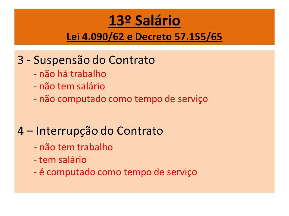 13º Salário Lei 4.090/62 e Decreto 57.155/65 3 - Suspensão do Contrato - não há trabalho - não tem salário - não computado como tempo de serviço 4 – I