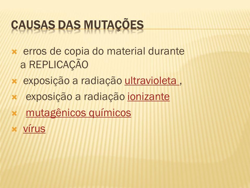erros de copia do material durante a REPLICAÇÃO exposição a radiação ultravioleta,ultravioleta exposição a radiação ionizanteionizante mutagênicos quí