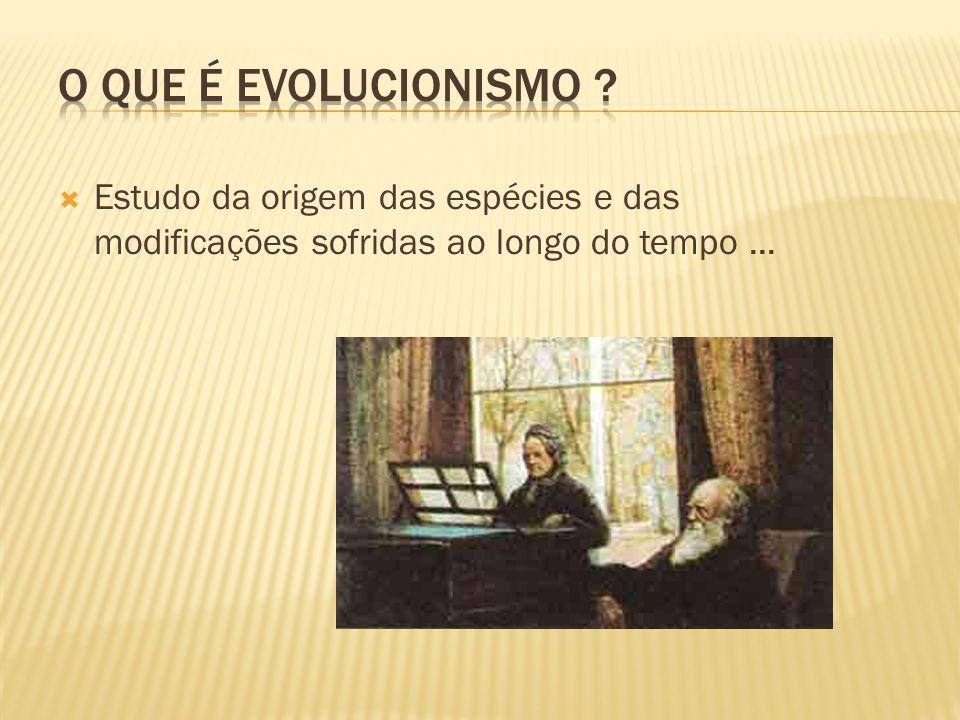 Estudo da origem das espécies e das modificações sofridas ao longo do tempo...