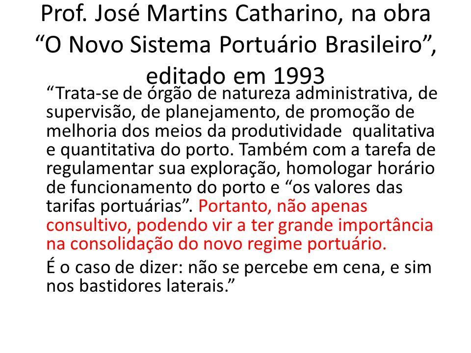 Prof. José Martins Catharino, na obra O Novo Sistema Portuário Brasileiro, editado em 1993 Trata-se de órgão de natureza administrativa, de supervisão