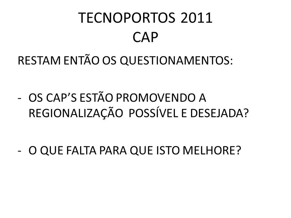 TECNOPORTOS 2011 CAP RESTAM ENTÃO OS QUESTIONAMENTOS: -OS CAPS ESTÃO PROMOVENDO A REGIONALIZAÇÃO POSSÍVEL E DESEJADA? -O QUE FALTA PARA QUE ISTO MELHO