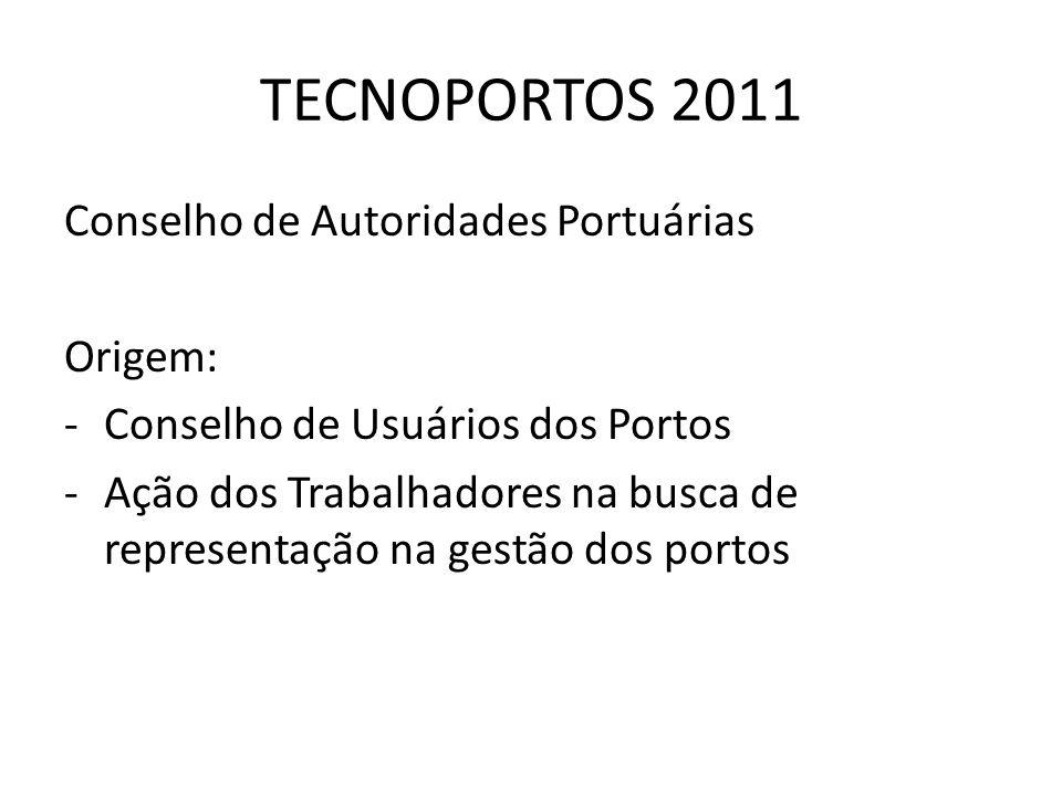 TECNOPORTOS 2011 Conselho de Autoridades Portuárias Origem: -Conselho de Usuários dos Portos -Ação dos Trabalhadores na busca de representação na gest