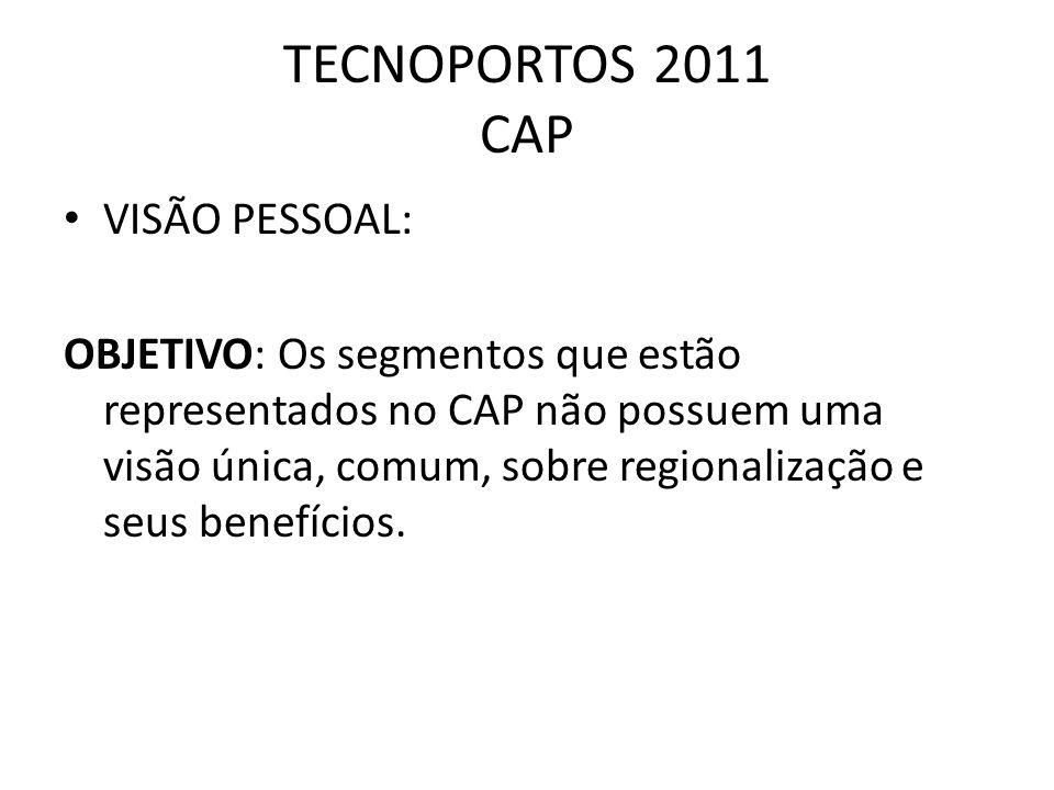 TECNOPORTOS 2011 CAP VISÃO PESSOAL: OBJETIVO: Os segmentos que estão representados no CAP não possuem uma visão única, comum, sobre regionalização e s