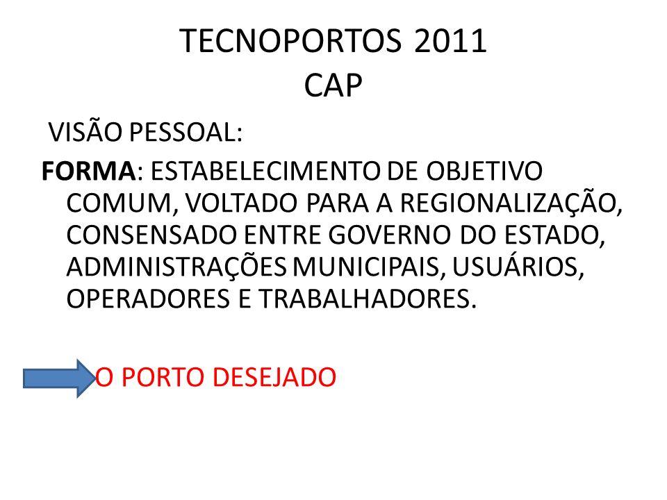 TECNOPORTOS 2011 CAP VISÃO PESSOAL: FORMA: ESTABELECIMENTO DE OBJETIVO COMUM, VOLTADO PARA A REGIONALIZAÇÃO, CONSENSADO ENTRE GOVERNO DO ESTADO, ADMIN