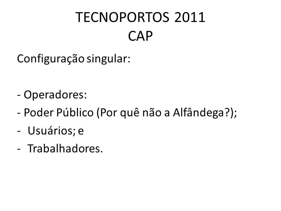 TECNOPORTOS 2011 CAP Configuração singular: - Operadores: - Poder Público (Por quê não a Alfândega?); -Usuários; e -Trabalhadores.
