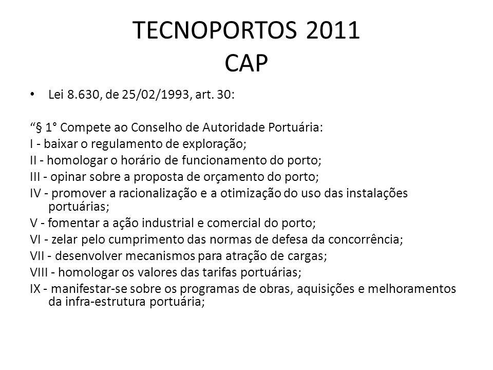 TECNOPORTOS 2011 CAP Lei 8.630, de 25/02/1993, art. 30: § 1° Compete ao Conselho de Autoridade Portuária: I - baixar o regulamento de exploração; II -