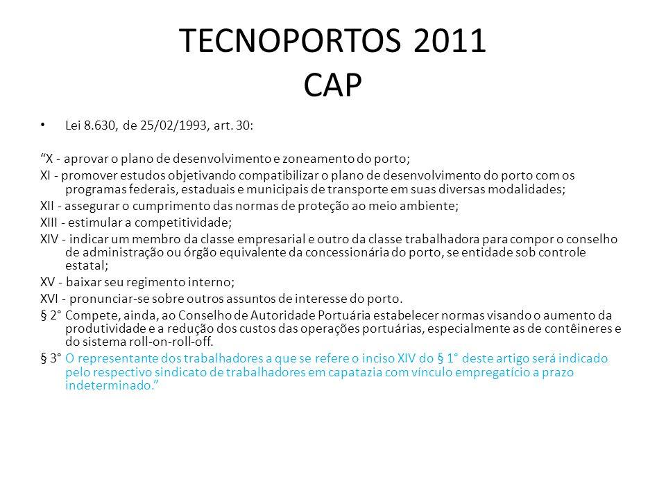TECNOPORTOS 2011 CAP Lei 8.630, de 25/02/1993, art. 30: X - aprovar o plano de desenvolvimento e zoneamento do porto; XI - promover estudos objetivand