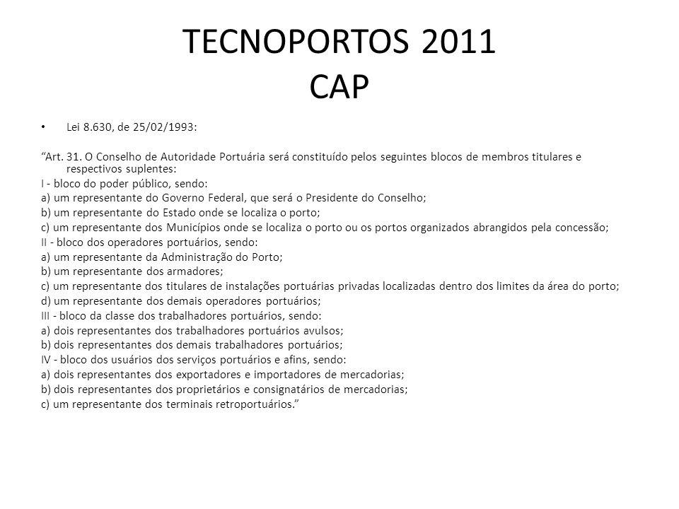 TECNOPORTOS 2011 CAP Lei 8.630, de 25/02/1993: Art. 31. O Conselho de Autoridade Portuária será constituído pelos seguintes blocos de membros titulare
