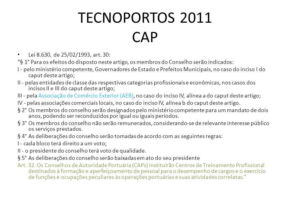 TECNOPORTOS 2011 CAP Lei 8.630, de 25/02/1993, art. 30: § 1° Para os efeitos do disposto neste artigo, os membros do Conselho serão indicados: I - pel