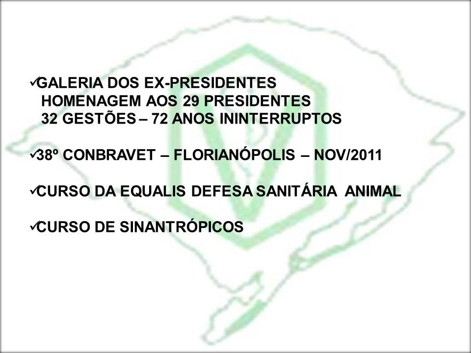 GALERIA DOS EX-PRESIDENTES HOMENAGEM AOS 29 PRESIDENTES 32 GESTÕES – 72 ANOS ININTERRUPTOS 38º CONBRAVET – FLORIANÓPOLIS – NOV/2011 CURSO DA EQUALIS D