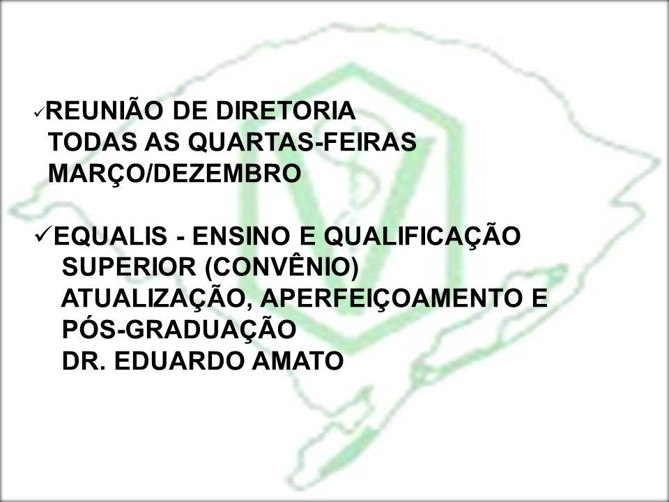 REUNIÃO DE DIRETORIA TODAS AS QUARTAS-FEIRAS MARÇO/DEZEMBRO EQUALIS - ENSINO E QUALIFICAÇÃO SUPERIOR (CONVÊNIO) ATUALIZAÇÃO, APERFEIÇOAMENTO E PÓS-GRA