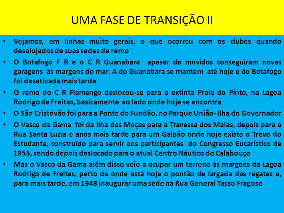 UMA FASE DE TRANSIÇÃO II Vejamos, em linhas muito gerais, o que ocorreu com os clubes quando desalojados de suas sedes de remo O Botafogo F R e o C R Guanabara apesar de movidos conseguiram novas garagens às margens do mar.
