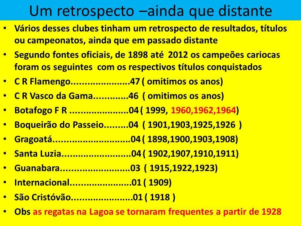 Um retrospecto –ainda que distante Vários desses clubes tinham um retrospecto de resultados, títulos ou campeonatos, ainda que em passado distante Segundo fontes oficiais, de 1898 até 2012 os campeões cariocas foram os seguintes com os respectivos títulos conquistados C R Flamengo......................47 ( omitimos os anos) C R Vasco da Gama.............46 ( omitimos os anos) Botafogo F R......................04 ( 1999, 1960,1962,1964) Boqueirão do Passeio.........04 ( 1901,1903,1925,1926 ) Gragoatá.............................04 ( 1898,1900,1903,1908) Santa Luzia..........................04 ( 1902,1907,1910,1911) Guanabara..........................03 ( 1915,1922,1923) Internacional.......................01 ( 1909) São Cristóvão.......................01 ( 1918 ) Obs as regatas na Lagoa se tornaram frequentes a partir de 1928