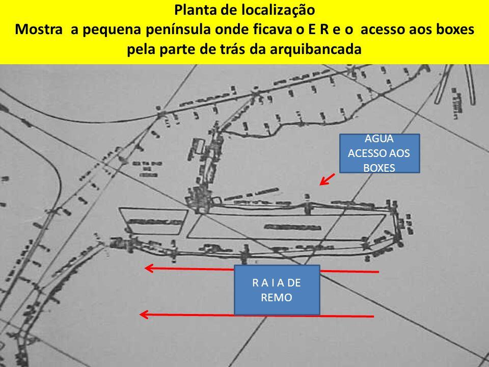 Planta de localização Mostra a pequena península onde ficava o E R e o acesso aos boxes pela parte de trás da arquibancada R A I A DE REMO AGUA ACESSO AOS BOXES