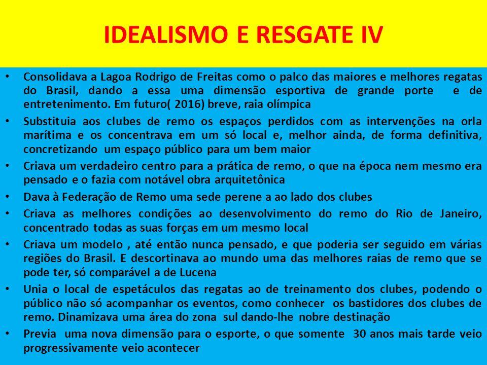 IDEALISMO E RESGATE IV Consolidava a Lagoa Rodrigo de Freitas como o palco das maiores e melhores regatas do Brasil, dando a essa uma dimensão esportiva de grande porte e de entretenimento.