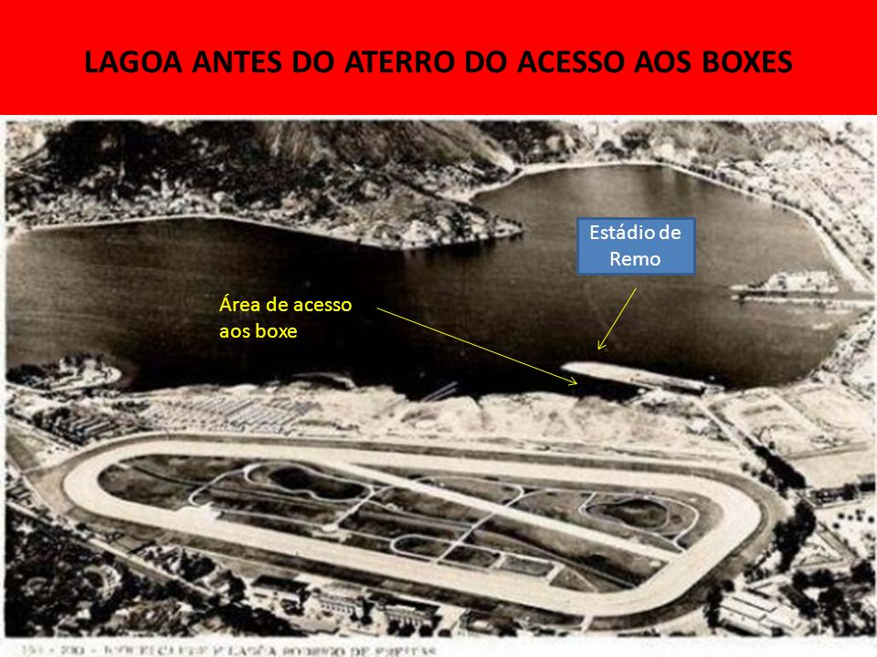LAGOA ANTES DO ATERRO DO ACESSO AOS BOXES Área de acesso aos boxes Estádio de Remo