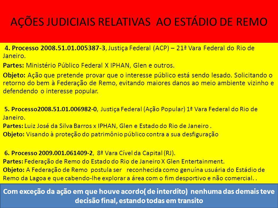 AÇÕES JUDICIAIS RELATIVAS AO ESTÁDIO DE REMO 4.