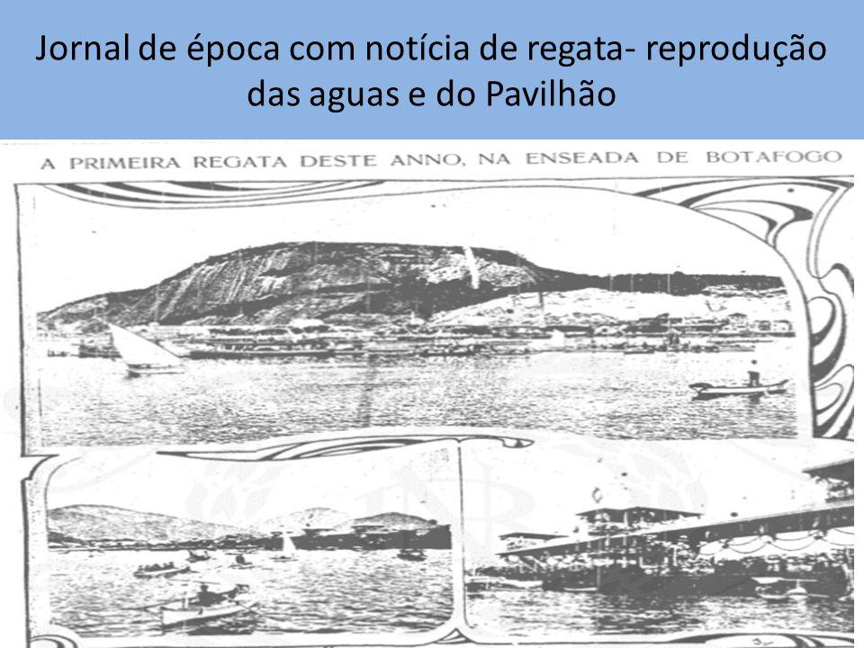 Jornal de época com notícia de regata- reprodução das aguas e do Pavilhão