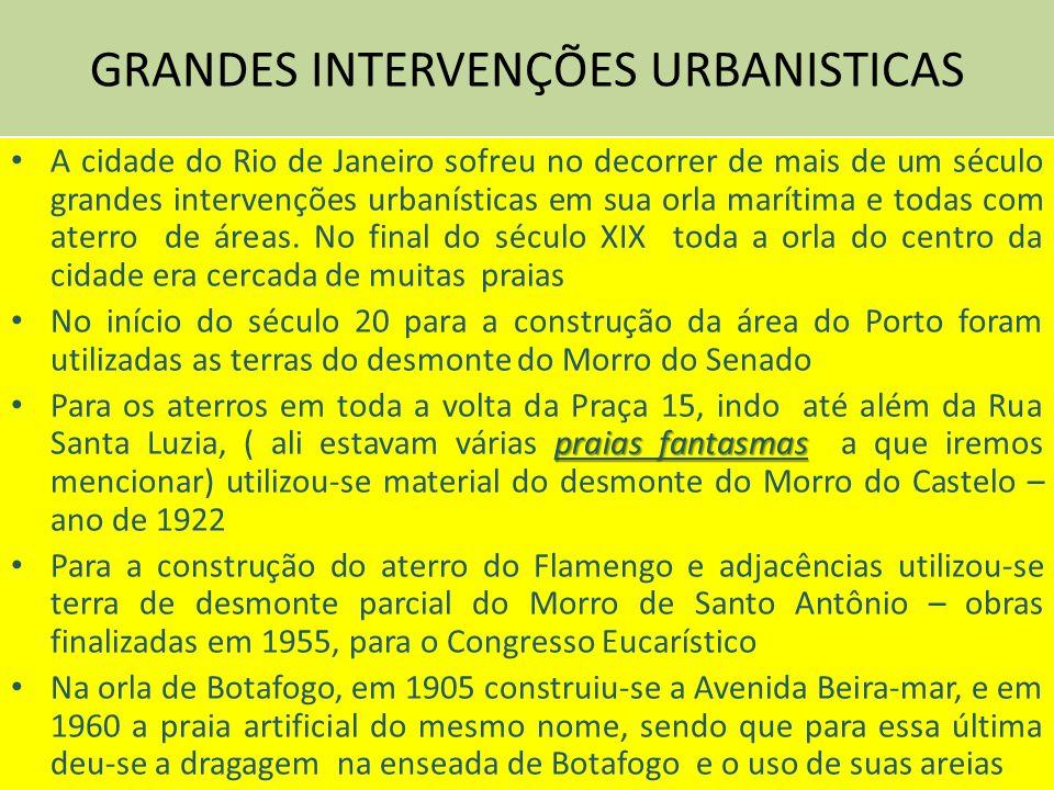 GRANDES INTERVENÇÕES URBANISTICAS A cidade do Rio de Janeiro sofreu no decorrer de mais de um século grandes intervenções urbanísticas em sua orla marítima e todas com aterro de áreas.
