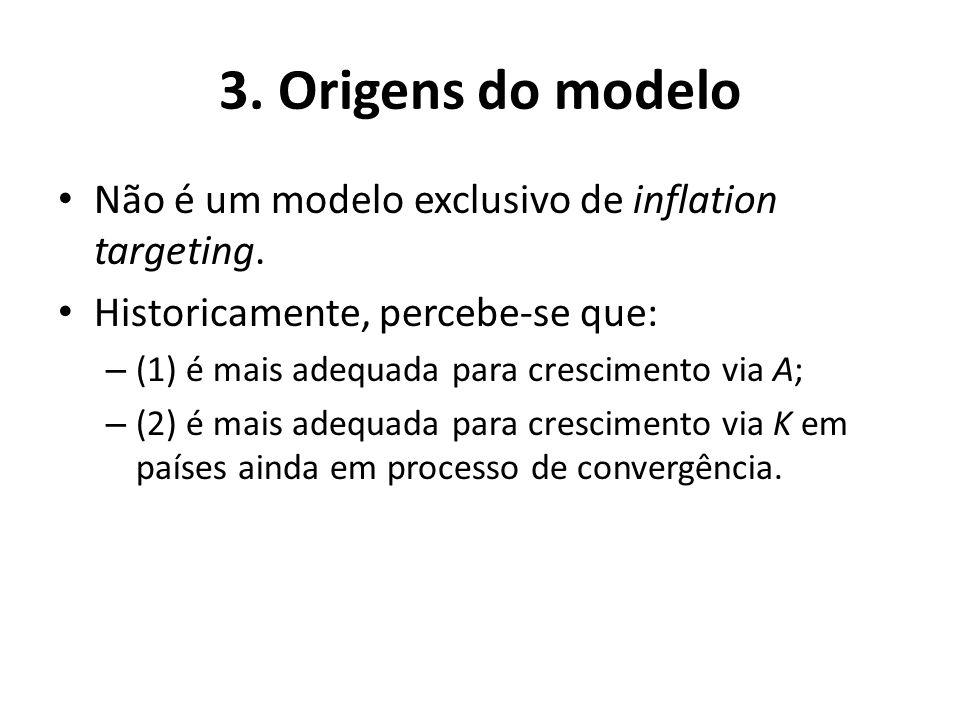 3. Origens do modelo Não é um modelo exclusivo de inflation targeting. Historicamente, percebe-se que: – (1) é mais adequada para crescimento via A; –