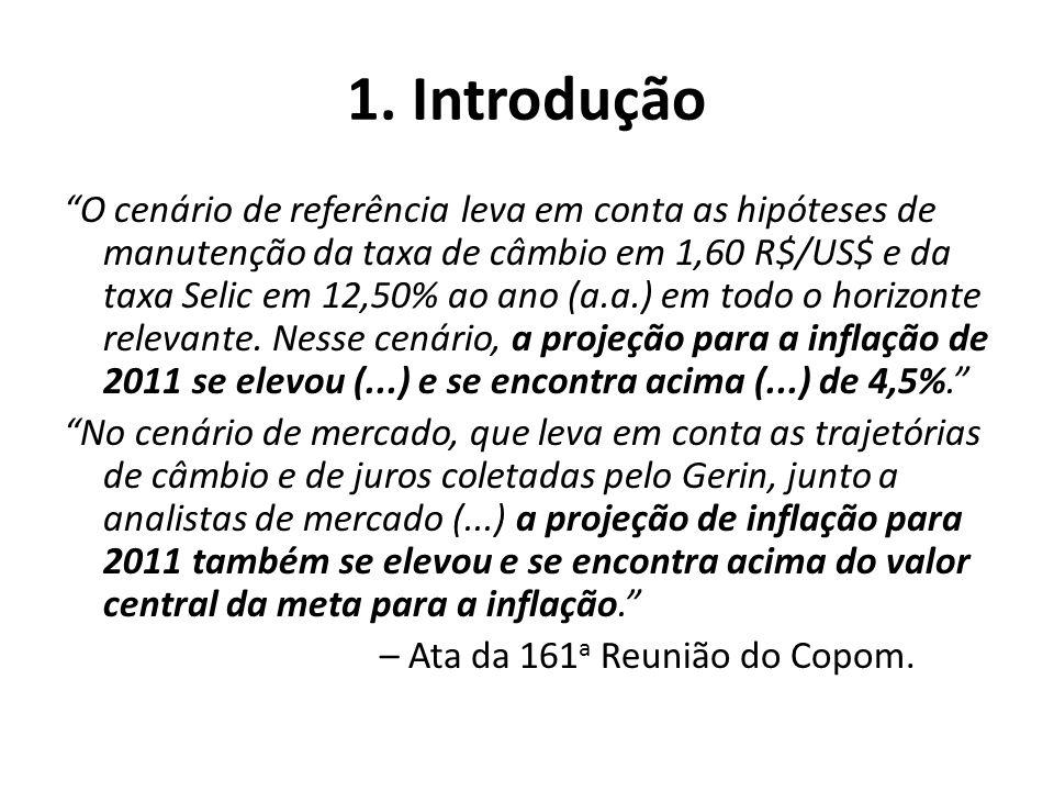1. Introdução O cenário de referência leva em conta as hipóteses de manutenção da taxa de câmbio em 1,60 R$/US$ e da taxa Selic em 12,50% ao ano (a.a.