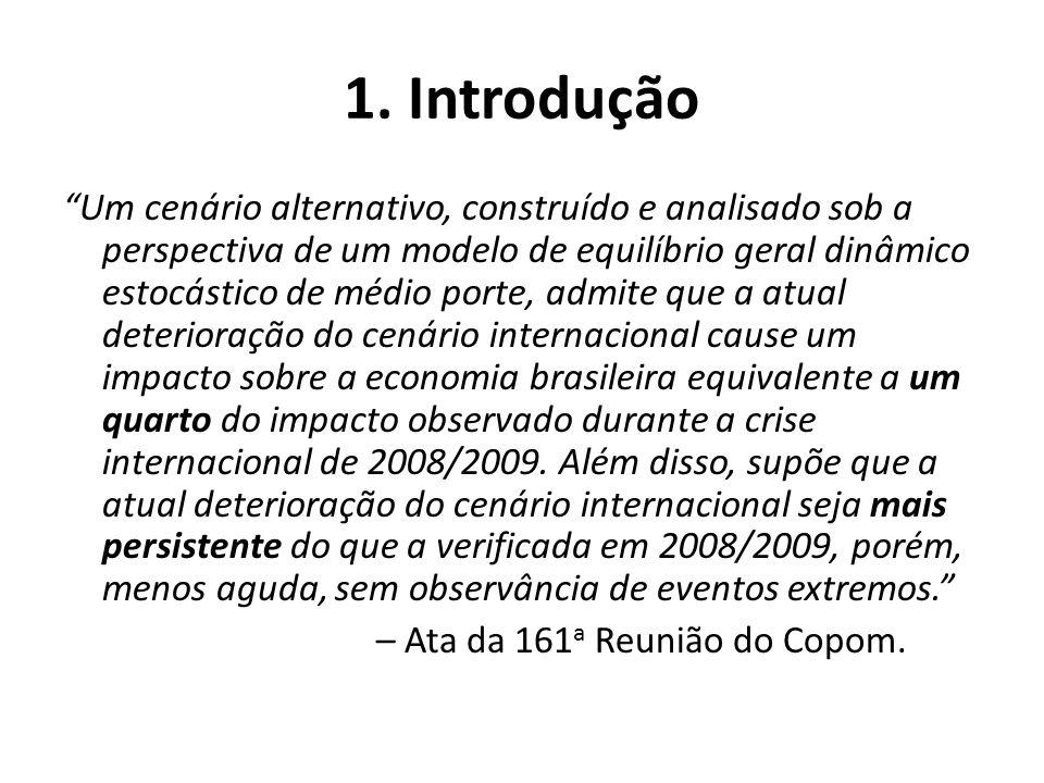 1. Introdução Um cenário alternativo, construído e analisado sob a perspectiva de um modelo de equilíbrio geral dinâmico estocástico de médio porte, a
