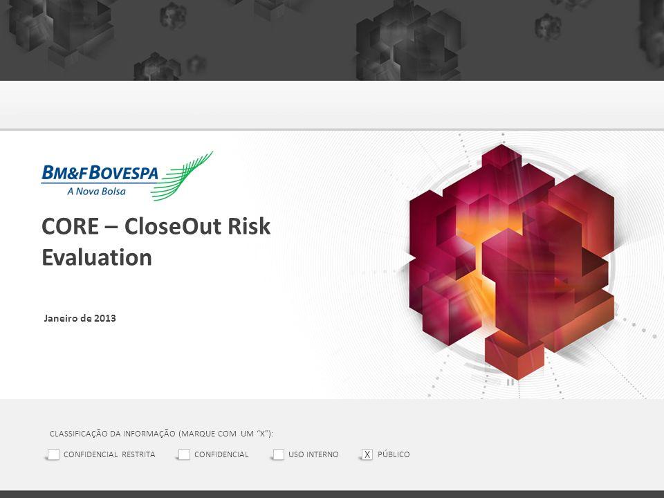 CORE – CloseOut Risk Evaluation Janeiro de 2013 CLASSIFICAÇÃO DA INFORMAÇÃO (MARQUE COM UM X): CONFIDENCIAL RESTRITACONFIDENCIALUSO INTERNOPÚBLICO X