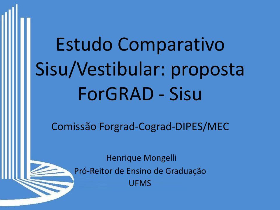 Estudo Comparativo Sisu/Vestibular: proposta ForGRAD - Sisu Comissão Forgrad-Cograd-DIPES/MEC Henrique Mongelli Pró-Reitor de Ensino de Graduação UFMS