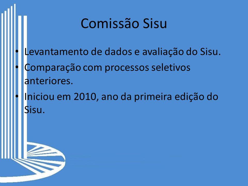 Comissão Sisu Levantamento de dados e avaliação do Sisu. Comparação com processos seletivos anteriores. Iniciou em 2010, ano da primeira edição do Sis