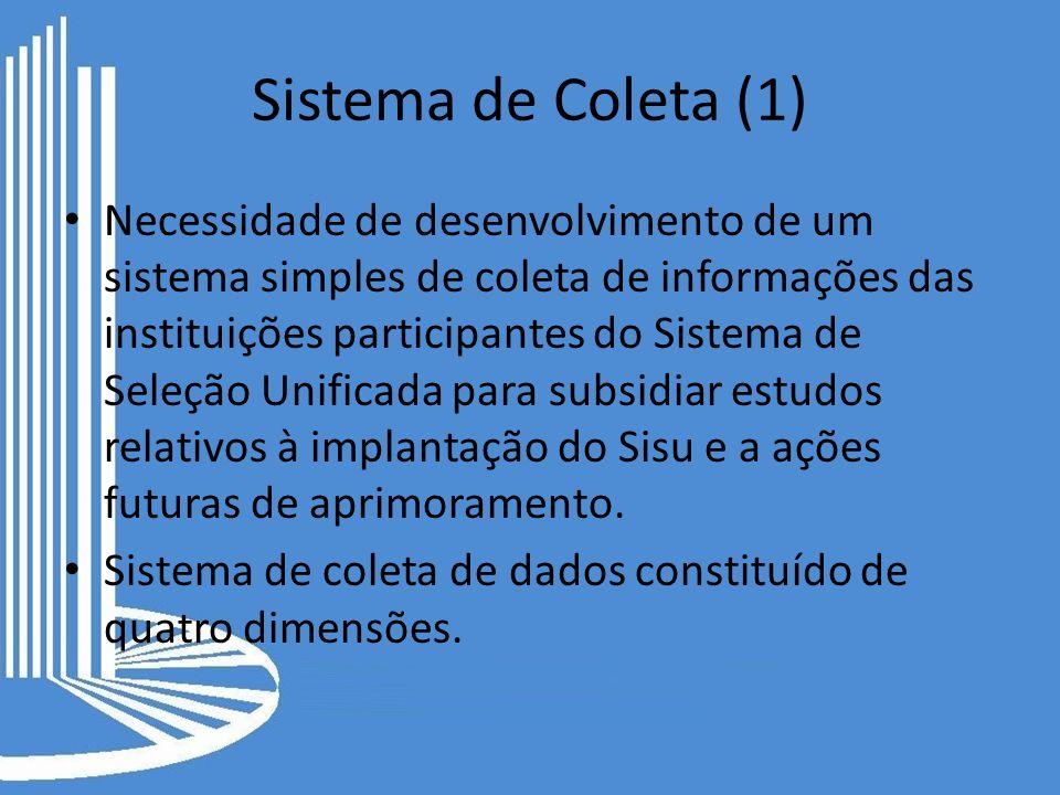 Sistema de Coleta (1) Necessidade de desenvolvimento de um sistema simples de coleta de informações das instituições participantes do Sistema de Seleç